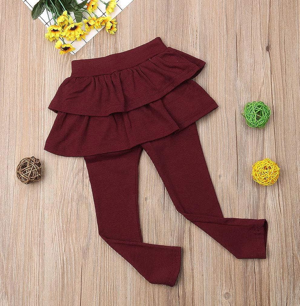 Karuedoo Kids Girls Elastic Waist Ruffle Tutu Skirt Leggings Ankle Length Stretch Pants Dress Leggings