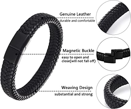 JIAYIQI Braided Leather Bracelets for Men with Magnetic Clasp Bracelet 7.3-8.7 Inch
