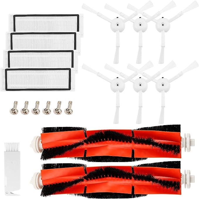 Accesorios originales Robot Aspirador Mi(19 Partes),Xiaomi Vacuum Accesorios,Mijia Recambio de Roborock s50 S51, 2 Cepillo Principal +6 Cepillo Lateral+1 Auxiliar de Limpieza+4 Filtros HEPA+6 Tornillo: Amazon.es: Hogar