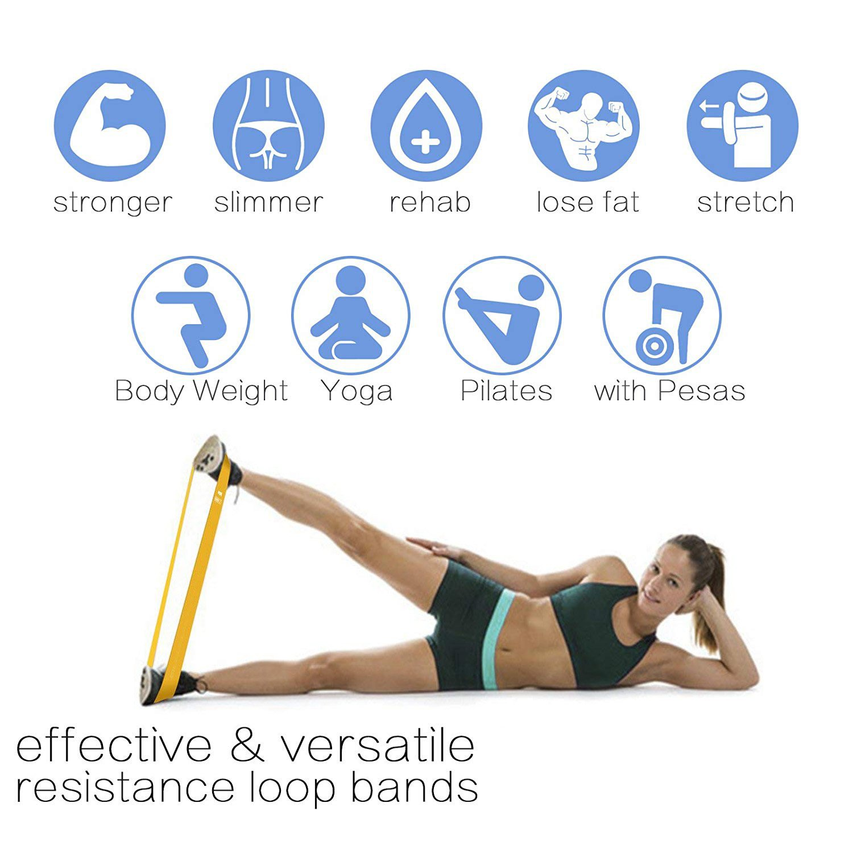 VVHOOY bandas de resistencia, bandas de ejercicio de resistencia, juego de 5 bandas de fitness de látex natural para entrenamiento y terapia física, ...