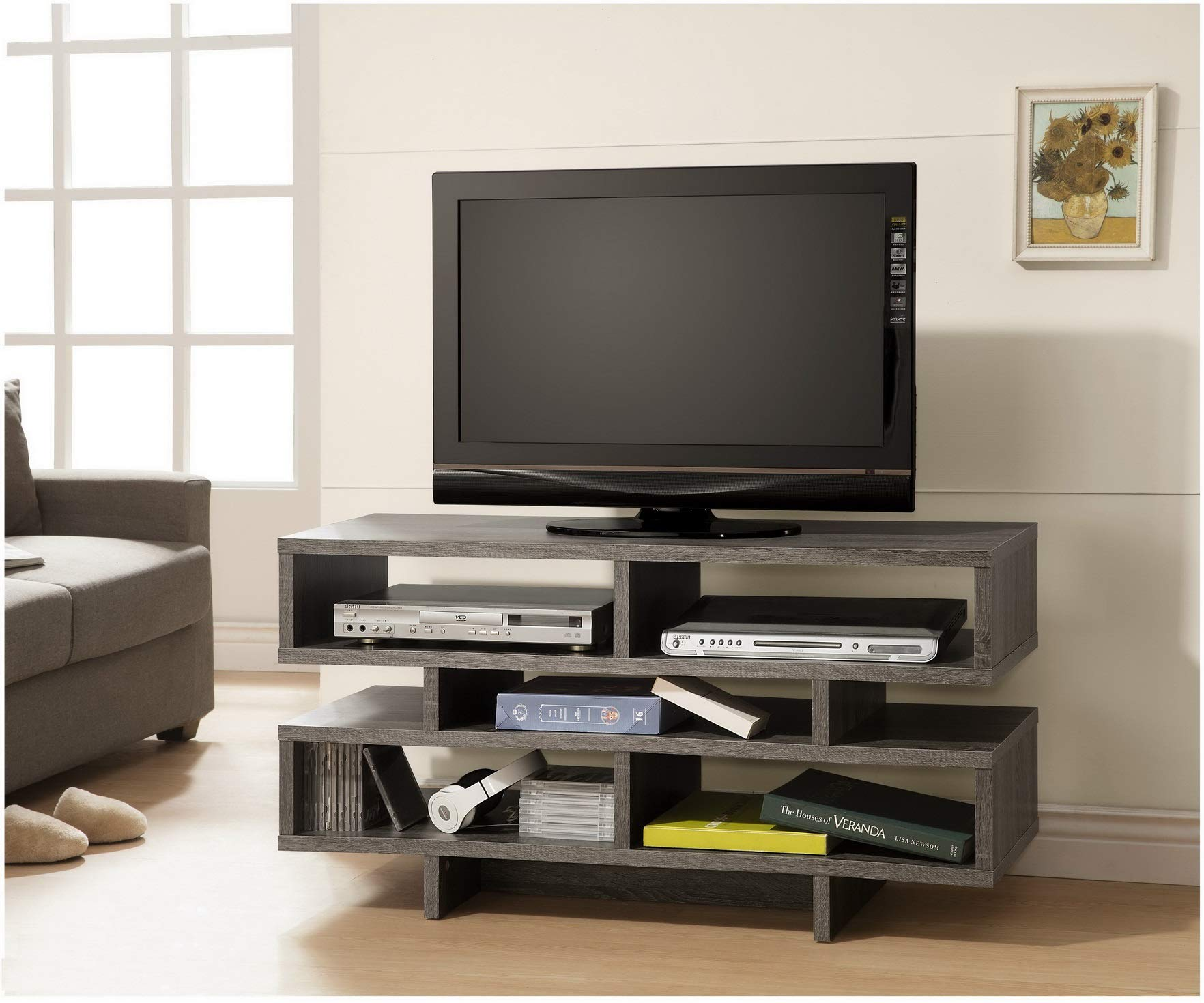Weathered Grey Reclaimed-Look Finish TV Console Entertainment Stand with Open Shelves