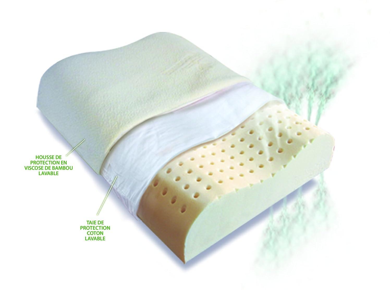 oreiller ergonomique latex Huyder Nature   Oreiller ergonomique   Mousse de latex végétal  oreiller ergonomique latex