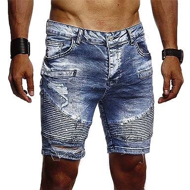 OPAKY Hombre Pantalones Cortos Vaqueros con Rasgaduras ...