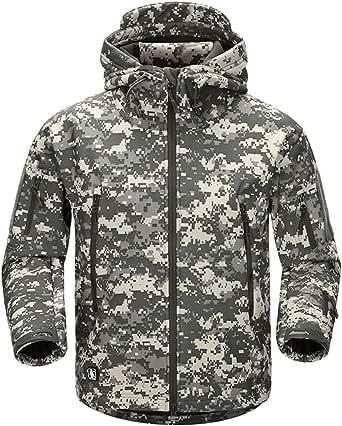 AIKOSHA Mens Soft Shell Tactical Hoodie Fleece Jacket Lightweight Waterproof Outdoor Hiking Hunting Camping Trekking Outwear