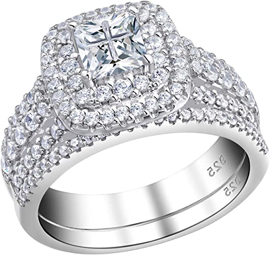 Sterling Silver 925 Ladys Engagement Ring Womens Wedding Band Round Cut Cross