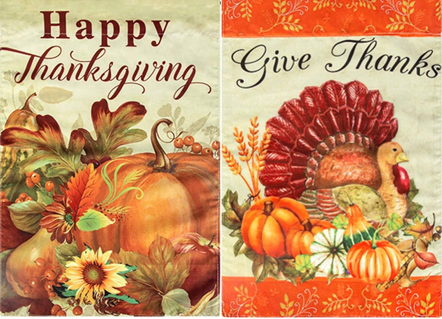 2 Pcs Thanksgiving Garden Flag Turkey Pumpkin Give Thanks Fall Garden Flag Outdoor Home Decorative Flag 12.5 x 18