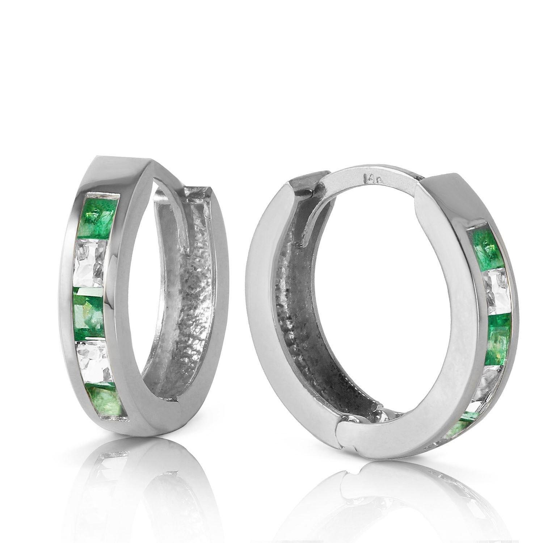ALARRI 1.26 Carat 14K Solid White Gold Hoop Earrings Natural Emerald White Topaz