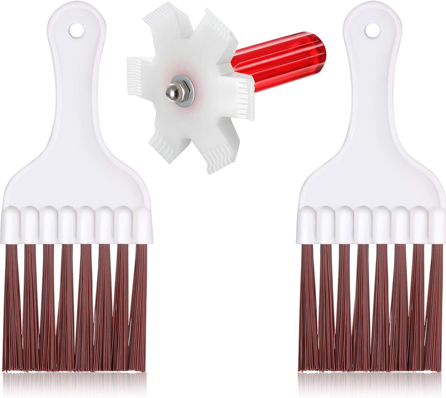 3 Pieces Condenser Fin Straightener AC Fin Comb Air Conditioner Condenser Fin Cleaning Brush Refrigerator Coil Cleaning Whisk Brush
