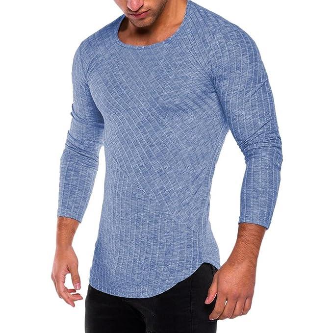 Camisas de Hombre,Moda Hombres Slim Fit O Cuello Manga Larga t-Shirts Camiseta