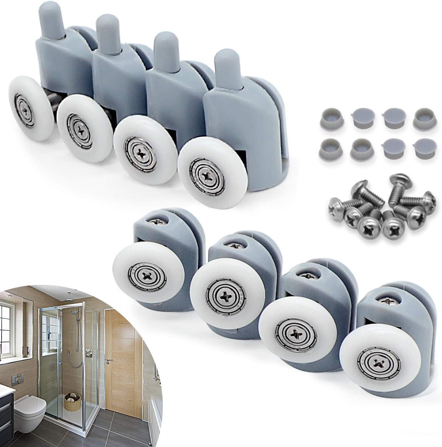 cococity Polea para mampara de ducha, 4 piezas superiores y 4 piezas inferiores, para puerta corredera de cristal baño(23 mm de diámetro)