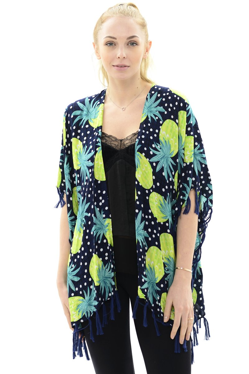 BYOS Womens Fashion Lightweight Printed Open Front Kimono Jacket Beach Cover-up (Yellow Pineapple)