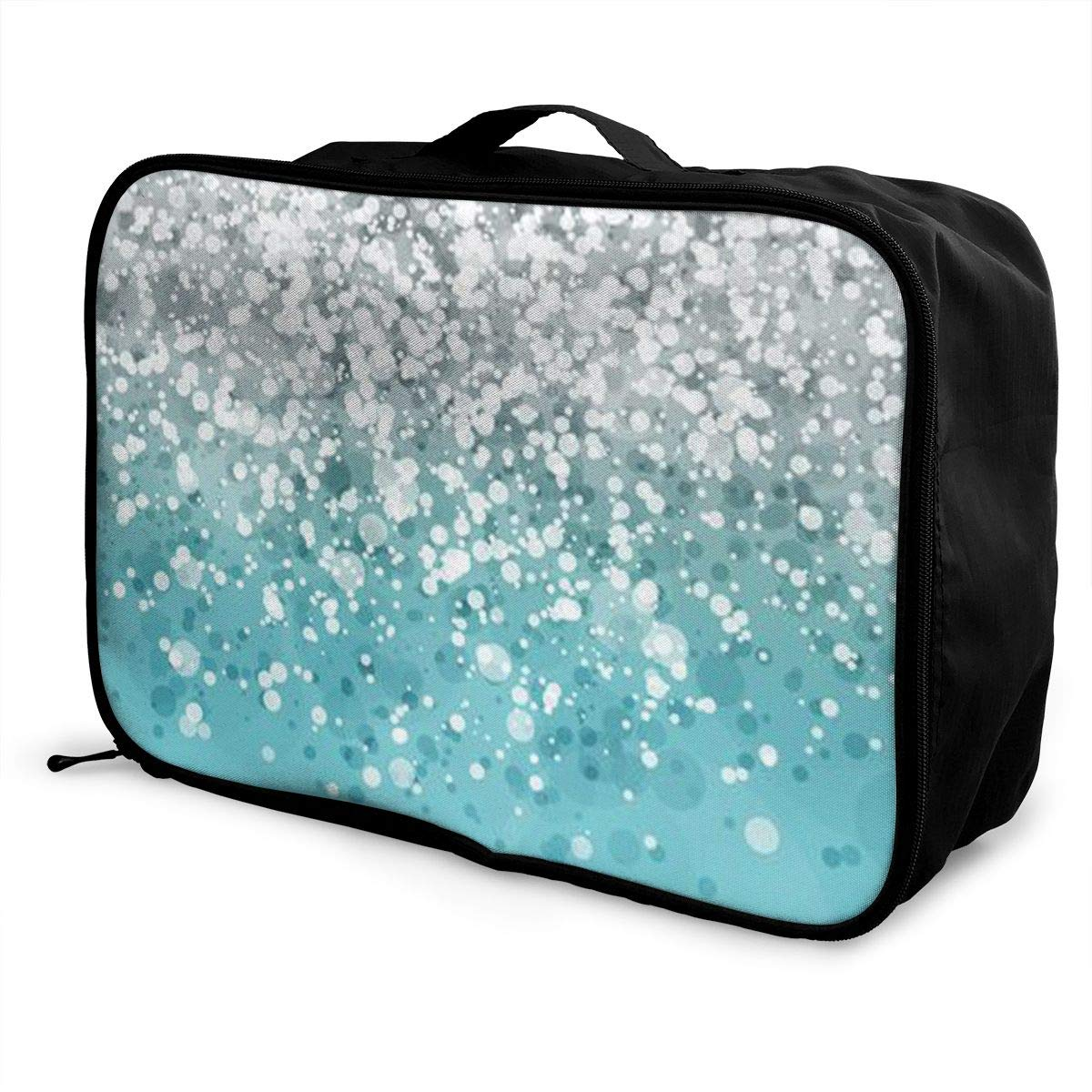 Silver Falling Sparkles On Light Blue Glitter Travel Duffel Bag Casual Large Capacity Portable Luggage Bag Suitcase Storage Bag Luggage Packing Tote Bag Weekend Trip