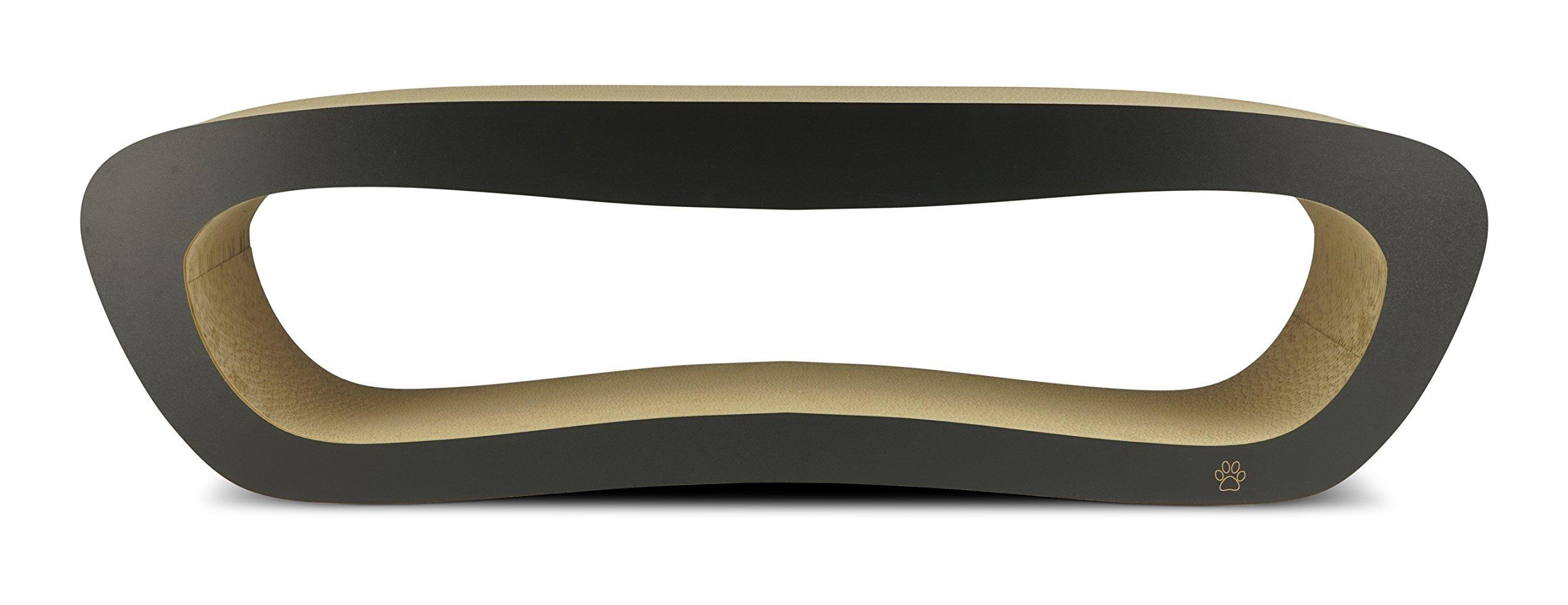 Oliver & Iris Premium Cat Scratcher Hollow Long Curved Lounger, X-Large, Black