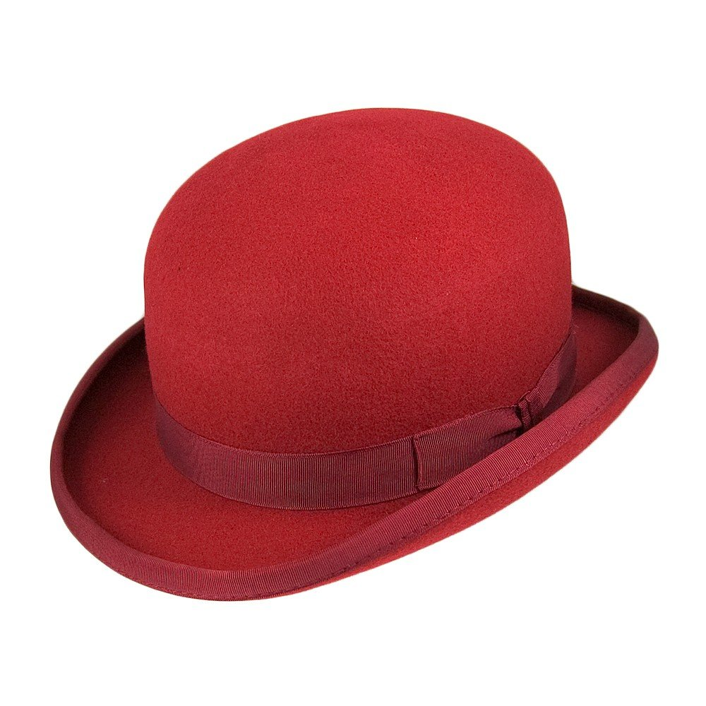 Christys Hats Wool Felt Bowler - Red