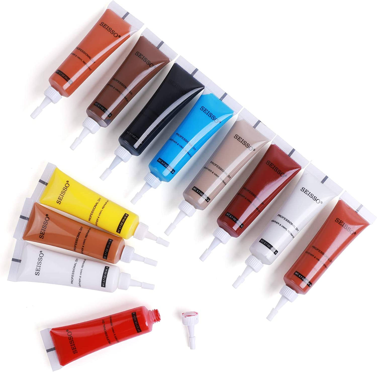 Leather Repair Kit, Vinyl Filling Repair Scratches Kit, Small Holes, Crack, Repair Furniture, Sofas, Wallets, Belts, Car Seat Cushions, 12 Colors