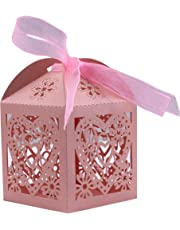 DriewWedding 50PCS Wedding Bridal Favor Gift Boxes,Hollow Gift Wrap Boxs Bag with Ribbon Party Decor Kit Treat Box Chocolate Candy Wrappers Holders (Pink)