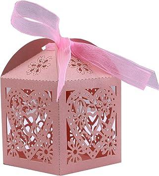 DriewWedding 50PCS Wedding Bridal Favor Gift Boxes,Hollow Gift Wrap Boxs Bag  with Ribbon Party 1ba866c5e6