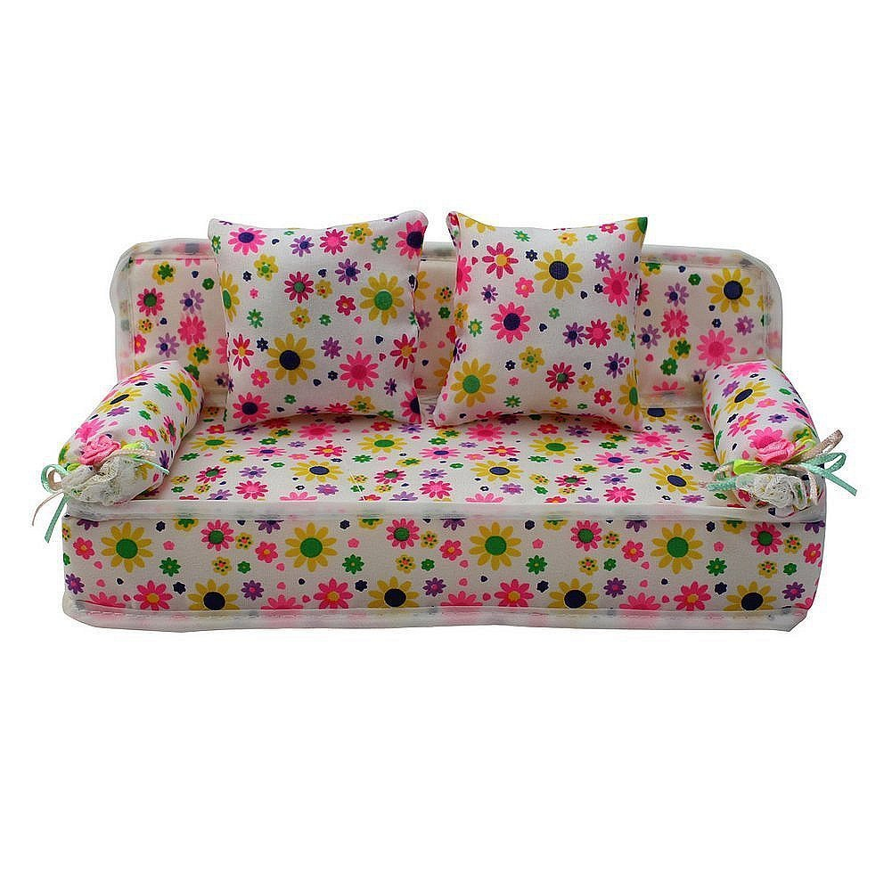 Ocamo Lovely Miniature Furniture Flower Print Sofa Couch with 2 Cushions for Barbie