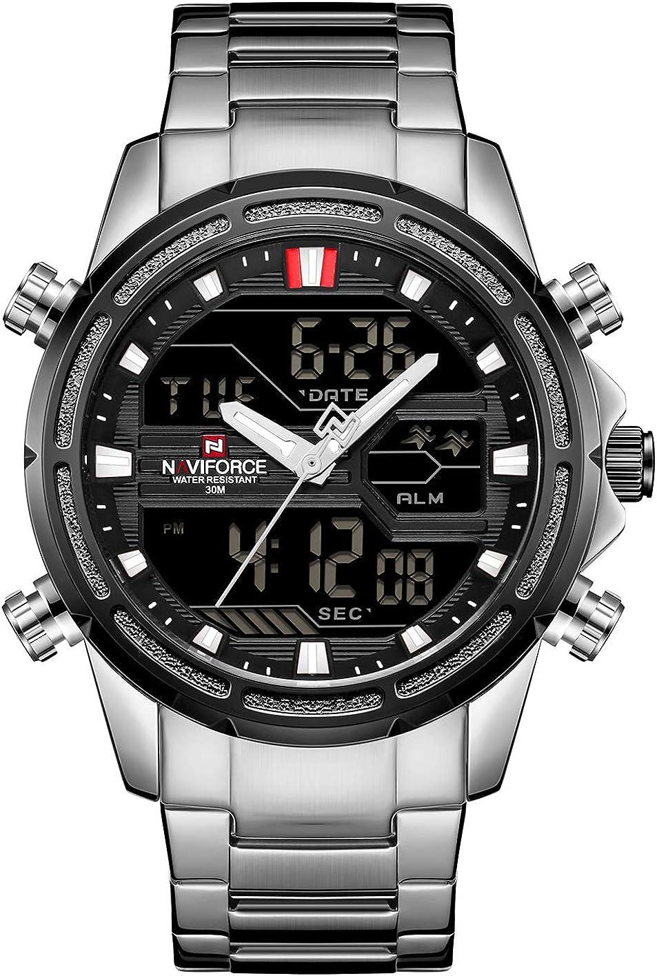 Naviforce - Reloj de pulsera para hombre, resistente al agua, multifunción, analógico, digital, LED, de cuarzo, deportivo, de acero inoxidable