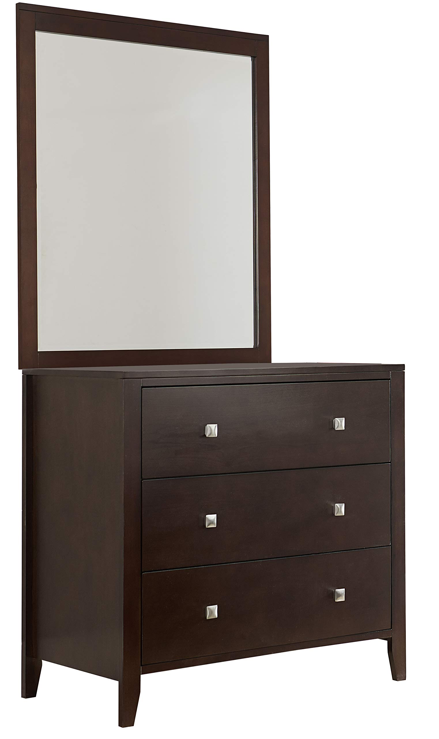 Hillsdale Furniture 32525NCM Hillsdale Kids and Teen Pulse 3 Drawer, Chocolate Chest and Mirror