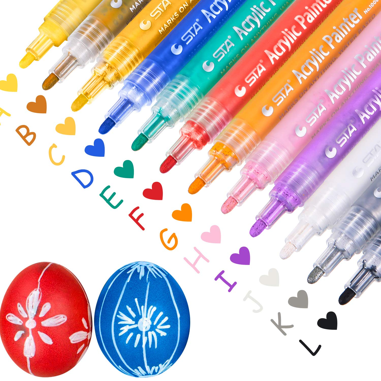 12 Colors Acrylic Paint Marker Pens, Maxdot Paint Pen Art Markers Set for Paper, Glass, Metal, Canvas, Wood, Ceramic, Fabric Painting, DIY Crafts (Pack of 12) 4336948030