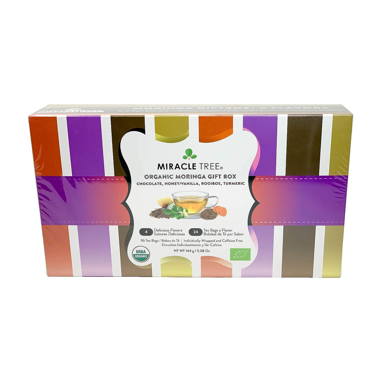 Miracle Tree - Gift Box with Organic Moringa Superfood Tea, 96 Individually Sealed Tea Bags (4 Flavors: Mint, Mango, Strawberry, Green Tea)