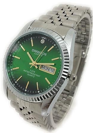 Reloj De Hombre Swanson Japan Watch Mens Cara Verde,Fecha,Dia contra el Agua