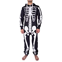 Mens Unisex Halloween Skeleton All in One Onesie Jumpsuit