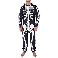 Mens Unisex Halloween Skeleton All in One Onesie Jumpsuit