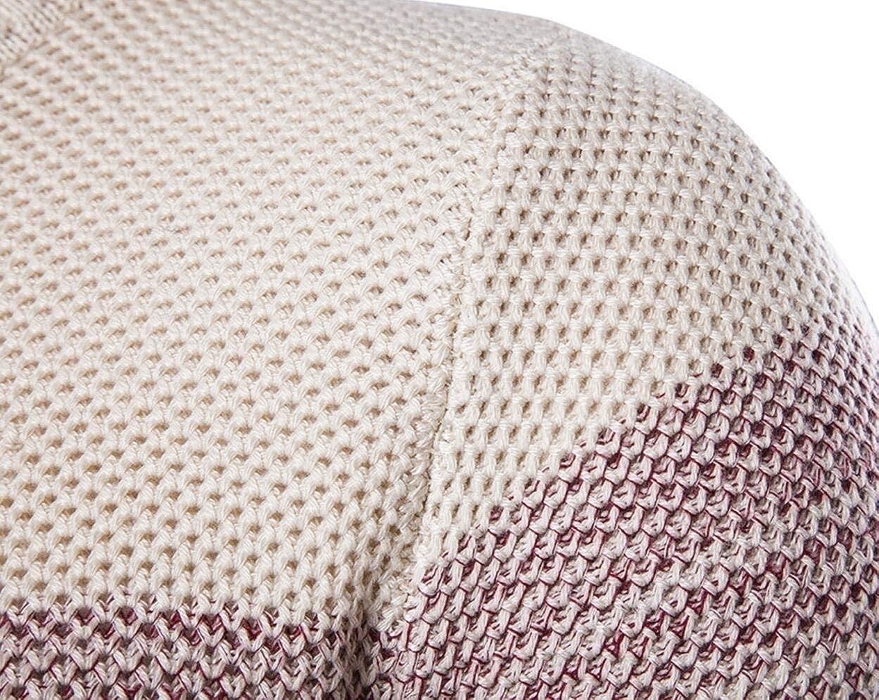 Mfasica Mens Long Sleeve Striped Printed Crewneck Knit Color Block Jumper