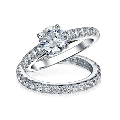 Bling Jewelry 925 Sterling Silver Bridal Solitaire CZ Engagement
