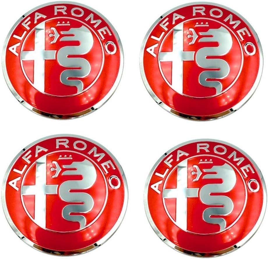 4pcs 56mm Car Wheel Center Hub Cap Cover Sticker Rim Emblem Badge Fit for Alfa Romeo Giulietta Spider GT Giulia Mito 147 156 159 (Red)