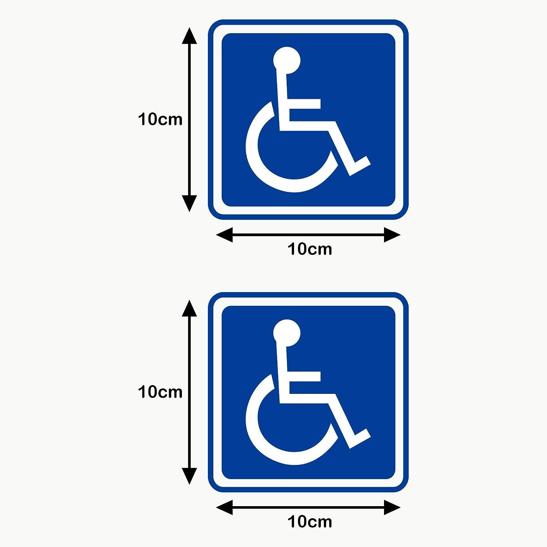 Autodomy Pegatinas Discapacitado Minusválido Pack 2 Unidades para Uso Interno Coche Furgoneta Camión