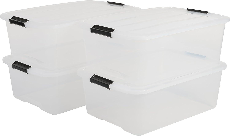 IRIS Top Box TB-30 Lote de 4 Cajas apilables de Almacenamiento con Cierre de Clip, 30 L, 57,5 x 39 x 20,5 cm, 4 Unidades