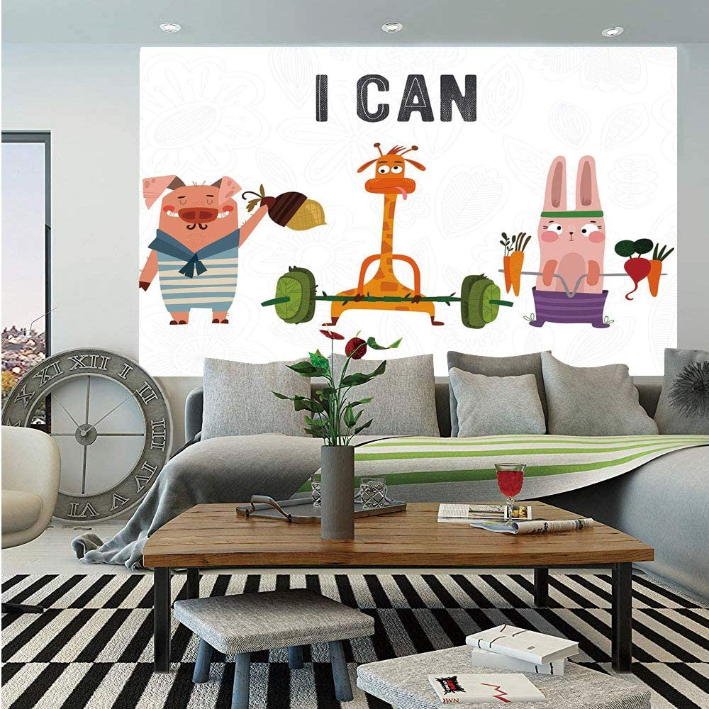 Amazon Com Fitness Huge Photo Wall Mural Cute Pig Rabbit And Giraffe Exercise Summer Is Coming Fitness Motivation Yes I Can Decorative Self Adhesive Large Wallpaper For Home Decor 100x144 Inches Multicolor Home Kitchen