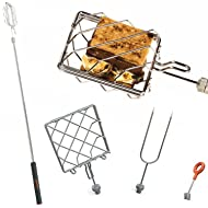 "Grubstick Intro 4 Piece Kit- Your Last Roasting Stick | Premium Campfire 37"" Telescoping/Extendable Reusable Skewer Kit 