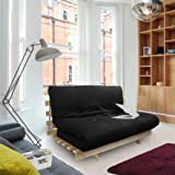 Changing Sofas Complete 2-Seater Futon, 125 x 75 x 74 cm, Black