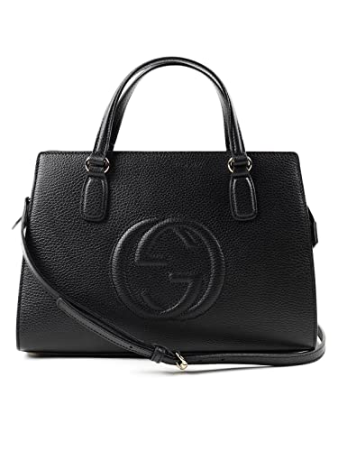 4ccf3099f03f Gucci Soho Leather Satchel tote Structured Black Shoulder Bag New