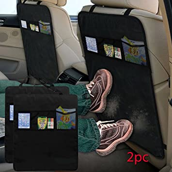 UK SELLER Car Back Seat Scuff Protector Child Kick Mat with STORAGE POCKETS