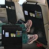 FINEWAY® Set of 2 Kick Mat Car Seat Protector Cover 3 Mesh Pockets Toy Storage Organiser Kids