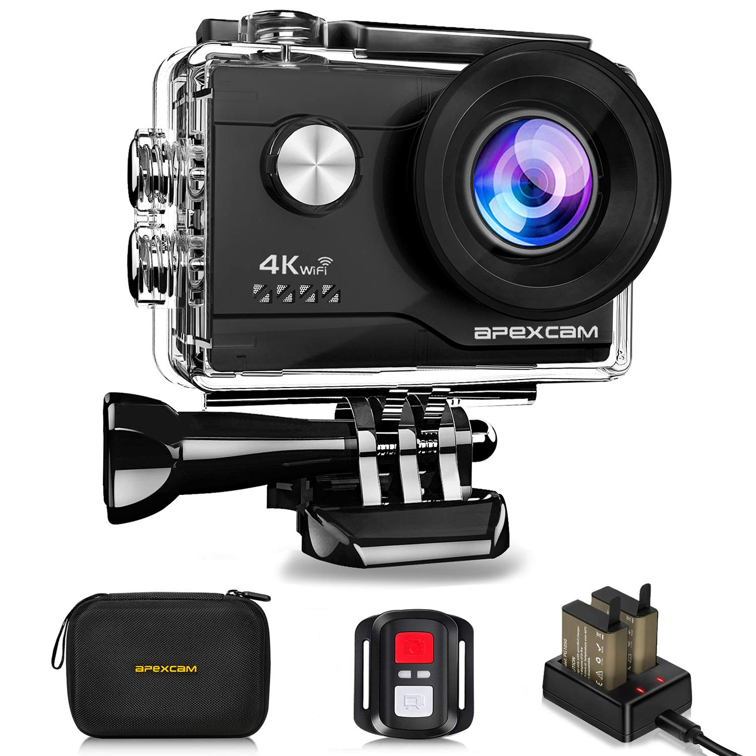 Apexcam 4K 16MP WIFI Action Camera Underwater Waterproof Camera Sports Camera With Sony Sensor 4X Zoom Ultra HD 40M 170° Wide-Angle 2.4G Remote Control 2 Rechargeable Batteries 2.0'' LCD Screen and Accessories Kit M80 Air