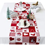 B bangcool Table Runner Christmas Dining Table Runner Red Table Runners Printed Fabric Decorative Holiday Table Decoration