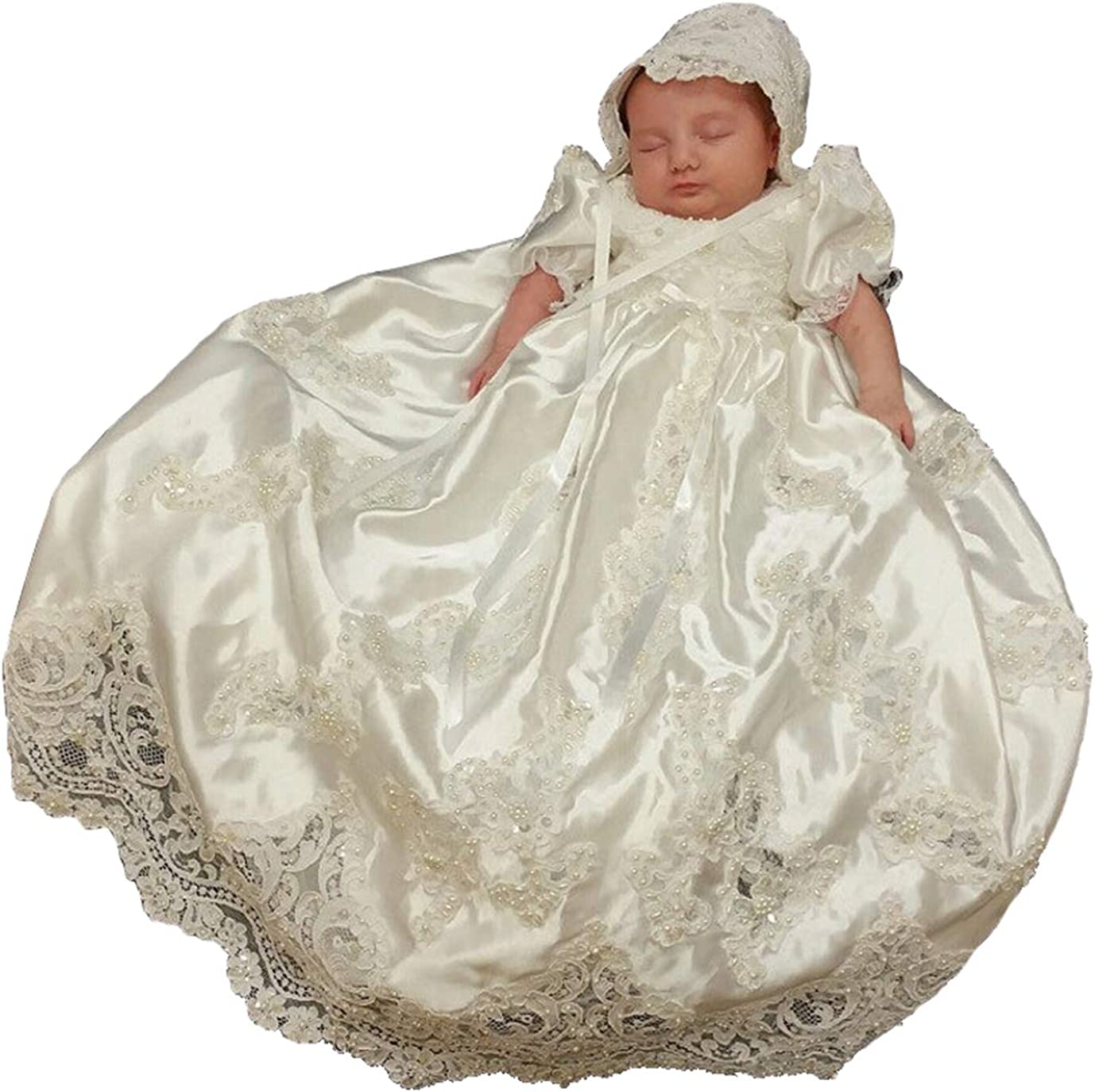 Michealboy Baby Girls Newborn Christening Lace Long Gown Wedding Dress Outfit 0-24M