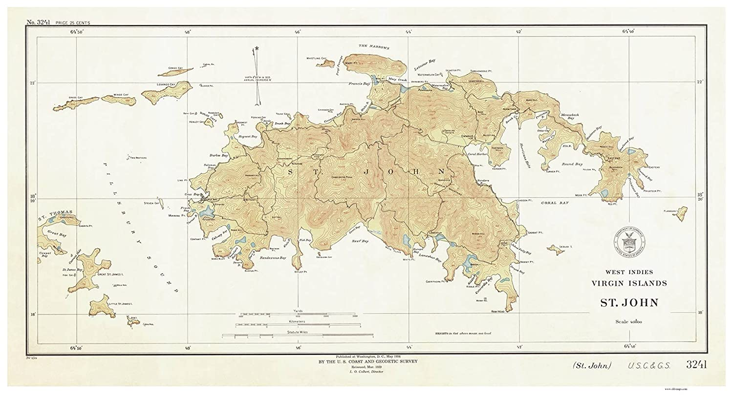 Amazon.com: Saint John - 1934 Virgin Islands Topographical ...