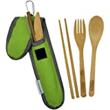 Bamboo Travel Utensil Set | Bamboo Fork, Knife, Spoon, Chopsticks, Straw, Straw-cleaning brush, Travel Pouch and Carabiner |