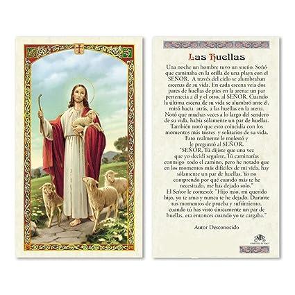 Amazon.com : Las Huellas en la Arena Poema Oracion Tarjeta ...