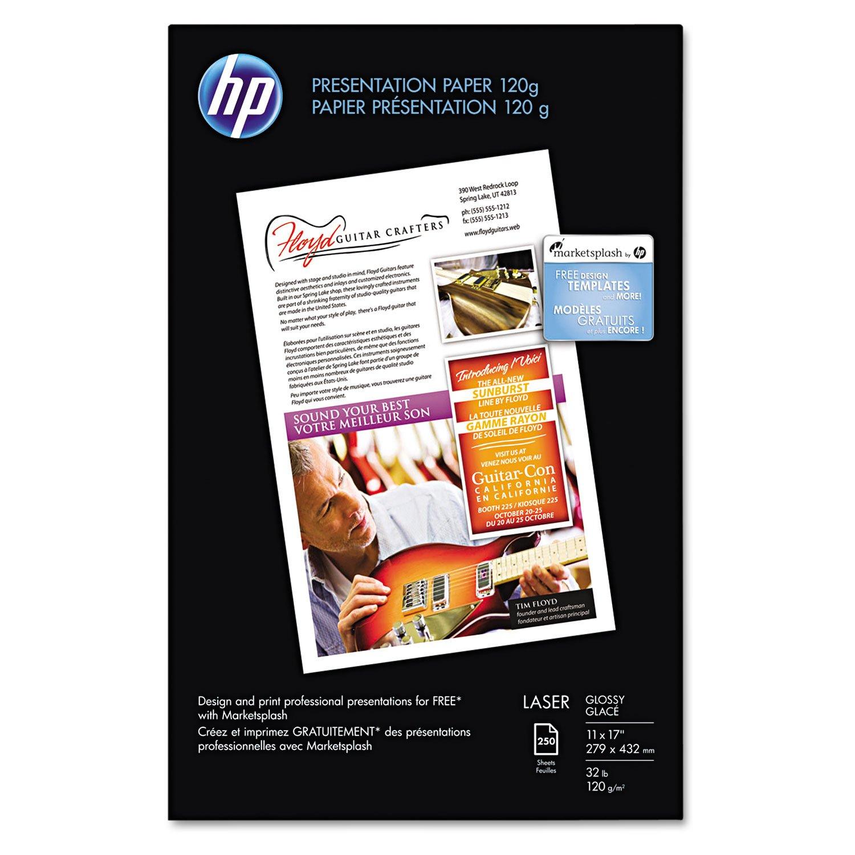 HP Q2547A Color Laser Presentation Paper, 95 Brightness, 34lb, 11 x 17, White, 250/Pack