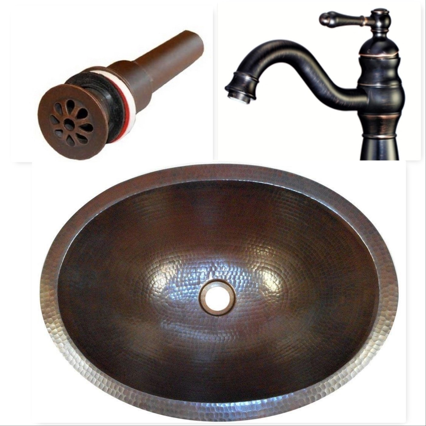 SimplyCopper 19'' Oval Copper Undermount or Drop In Bathroom Sink with Daisy Drain & ORB Faucet by SimplyCopper