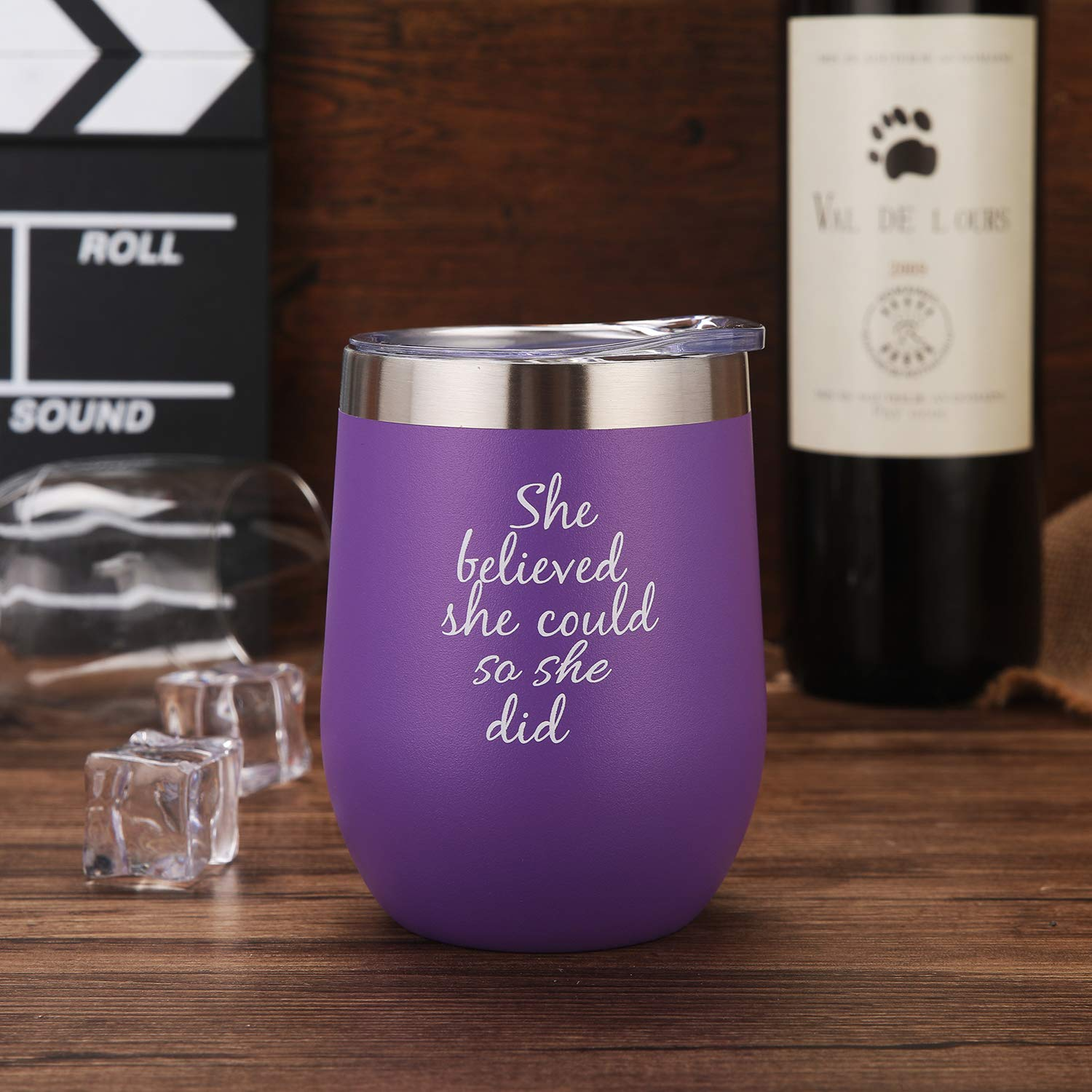 Graduation Gifts for Her,Going Away,Job Change,Congrats,Birthday Gift 12 oz Black She Believed She Could So She Did Wine Tumbler Mug,Spiritual Inspiritional Gifts for Women,Congratulations