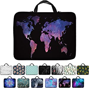 Britimes Laptop Case 14 15 15.6 inch, Colorful World Map Purple Star Shine Country Flat Generated Geography Global Neoprene PC Computer Sleeve Waterproof Notebook Handle Carrying Bag